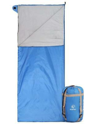 Ultra Lightweight Sleeping Bag For Backpacking Warm Weather w Compression Sack