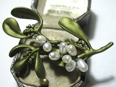 Beautiful Vintage Style Art Deco Enamelled Real Pearl MISTLETOE Brooch Pin