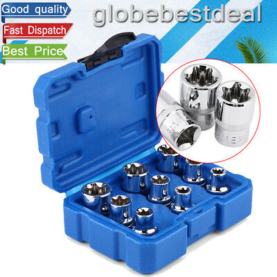 "9Pcs Car Repair Tool Kit E10~E24 E-type Torx Star Bit Steel Sockets 1/2"" Drive"