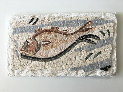 Impluvium Fish Mosaic - Natural Stone Roman Mosaic Fragment (Replica) - 11.4""