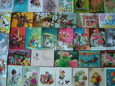 100 Overseas/Foreign (Various Countries) GREETING'S Postcards.  Used & Unused.