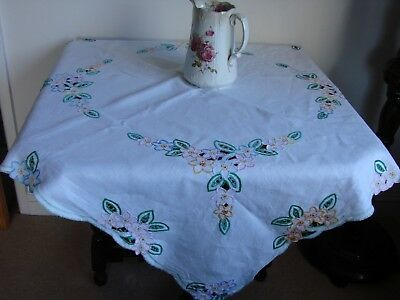 "Vintage linen tablecloth with coloured floral cut work hand embroidery 40"" x 42"""