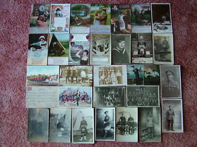 30 Very Old MILITARY Postcards. Standard size Used & Unused  Early 1900s -1950s