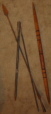 Cool Harpoon 3 metal shafts & heads wood handle w. burned decoration spear Lance
