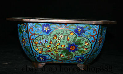 "10"" Old Chinese cloisonne Purple Bronze Dynasty Flower Plant Pot Jar Vase Censer"