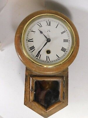 Antique German Oak Drop Dial Wall Clock by H.A.C. of Wurttemberg - Working