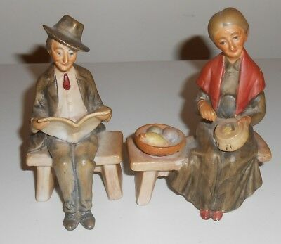Vintage Capodimonte Style Figures Man & Lady 5 Inches High                  Fc