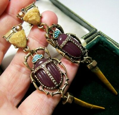Beautiful Statement Earrings Art Deco Vintage Style Real Agate Beetle Drop