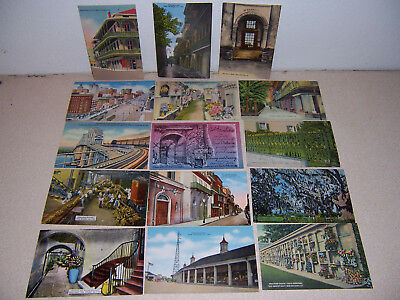 1930s-40s VTG NEW ORLEANS LOUISIANA UNUSED LINEN POSTCARD LOT of 15 DIFF