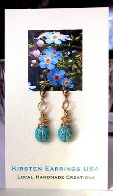 Lady Bug Earrings Petite Tiny Small Aqua Blue VTG Bead Handmade USA Gold GF Hook
