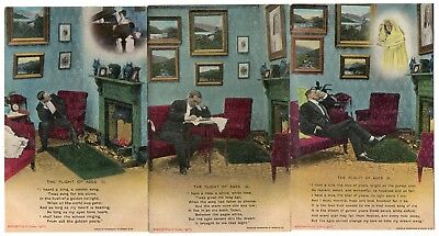 Bamforth Song Card *the Flight Of Ages * Wwi Romance * Set Of 3 *4585 *e121