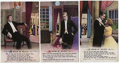 Bamforth Song Card * A Dream Of Delight * Wwi Romance* Set Of 3 *4978 *e128