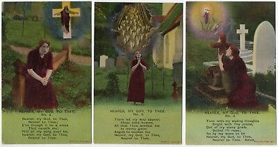Bamforth Song Card * Nearer, My God, To Thee* Wwi Religion* Set Of 3 *4761 *e127