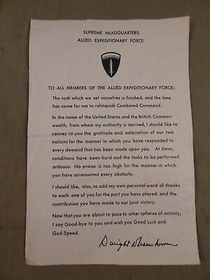 WWII U.S. Army General Eisenhower Farewell Letter to U.S. Troops, 1945 Original