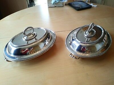 A pair of Antique Silver plated Entree (warmer) dishes