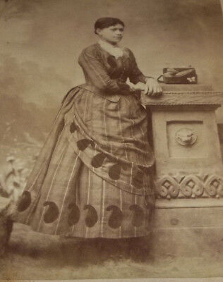 Vtg Black Americana Photo of Woman in Fancy Bustle Style Dress with her Purse