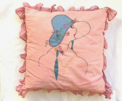 "1920s FLAPPER GIRL PINK COTTON & ORGANZA 16"" x 16"" EMBROIDERED BOUDOIR PILLOW"