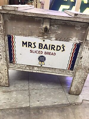 Mrs Bairds Porcelain Sign Bread Box Country Store Rare