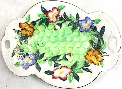 Vintage Hand Painted MALING Pottery Gilt Floral Serving Dish/ Plate  - L11