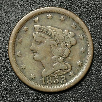 1853 BRAIDED HAIR COPPER HALF CENT low mintage