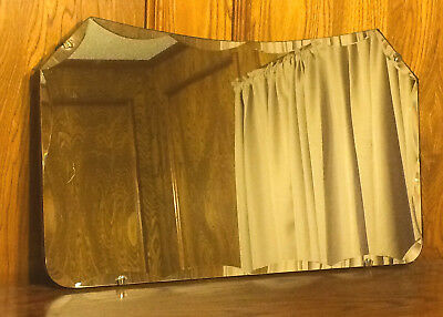 """Vintage 16"""" x 27"""" Scalloped Beveled Glass Mirror with Fleur Clips"""