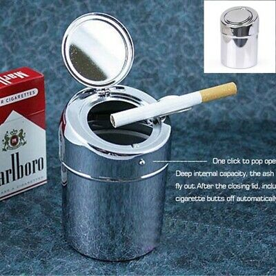 Stainless Steel Movable Ashtray Car Travel Cigarette Ash Holder Cup with Lid @UK