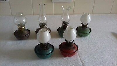 Job Lot Of Vintage Enamel Weighted Pixie Wick Paraffin Nursery Oil Lamps
