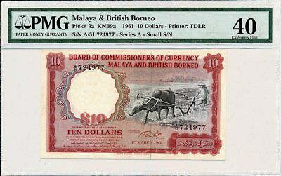 Board of Commissioners of Currency Malaya &British Borneo  $10 1961  PMG  40