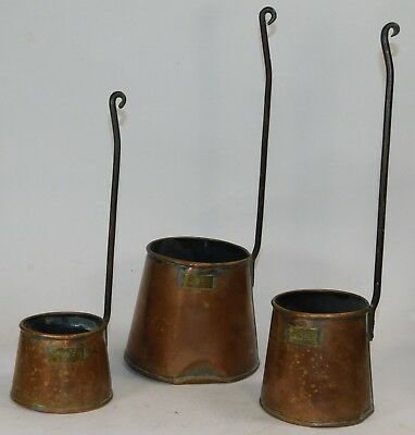 Set Of 3 Antique Copper Cider Measures W/ Brass Labels & Wrought Iron Handles