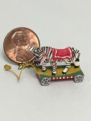 Artisan Dollhouse Miniature Zebra Pull Toy