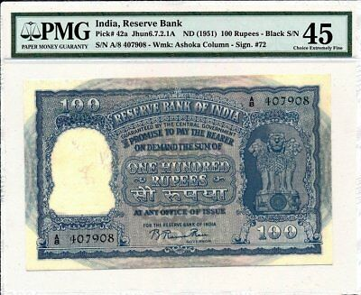 Reserve Bank India  100 Rupees ND(1951)  PMG  45