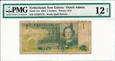 Dutch Admin. Netherlands New Guinea  1 Gulden 1954  PMG  12 NET