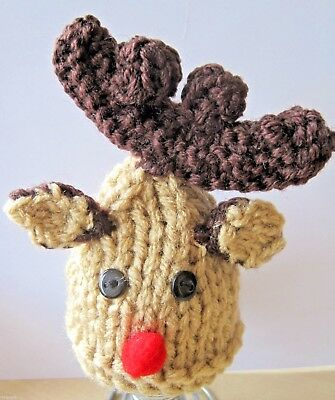 A Hand Knitted Chunky Rudolf Xmas Egg Cosy. Breakfast In Bed?
