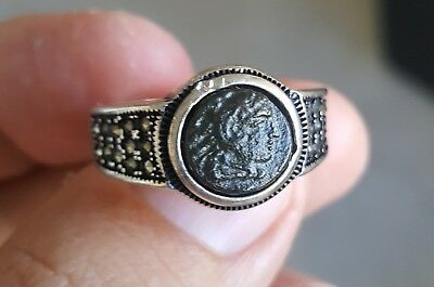 Alexander III the Great Authentic Ancient Bronze Coin 925 Sterling Silver Ring