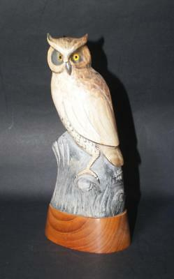 """SIGNED B STEIN 8.5"""" HAND CARVED OWL FIGURINE SCULPTURE w/ GLASS EYES"""