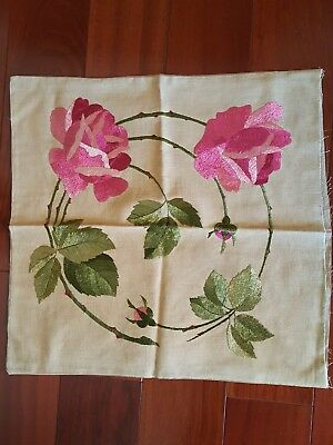 LINEN ARTS & CRAFTS EMBROIDERED PINK ROSES CLOTH CUSHION COVER stickley decor