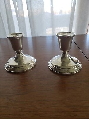 Pair Towle Sterling Silver Weighted & Reinforced Candle Candlestick Holder 50