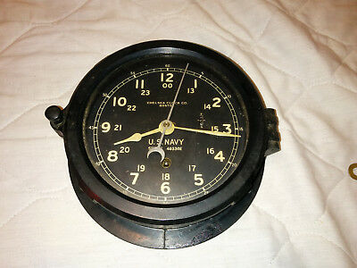 WWII US Navy Chelsea Clock Co. Boston Ships Clock, Working, Key included