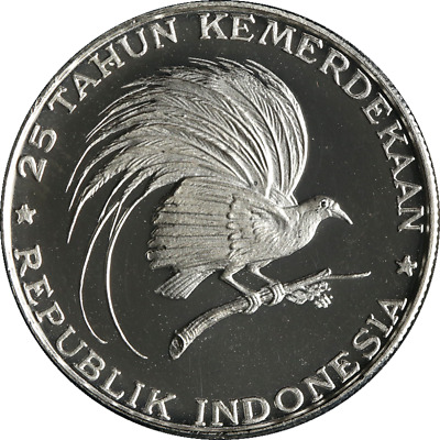Indonesia 200 Rupiah 1970 25th Anniversary of Independence 999 Fine - Silver OGP