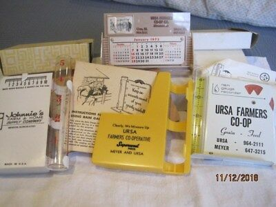 3 Vintage Rain Gauges And Old Desk Calendar Farm Advertising