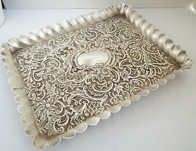 Beautiful Large Size Decorative English Antique 1898 Solid Sterling Silver Tray