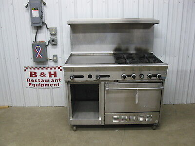 "US Range 4' Stainless Steel Heavy Duty 24"" Griddle Grill 4 Burner Oven 48"" - Gas"