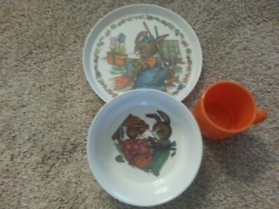 3pc SiLite children's feeding set in Peter Rabbit pattern Plate, dish and cup