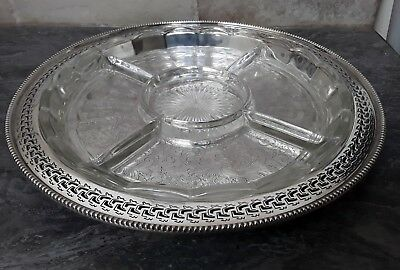 Silver plate and glass 5 section hors d'ouvres dish