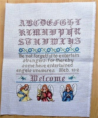 Angels Unawares Completed Counted Cross Stitch Large Sampler  Handmade
