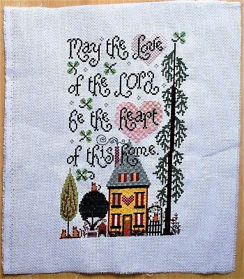 Heart Of The Home  Completed Counted Cross Stitch Large  Handmade