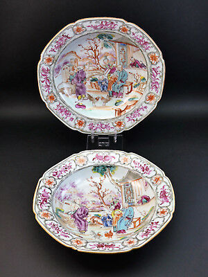 c1790, PAIR ANTIQUE 18thC MANDARIN CHINESE EXPORT PORCELAIN FAMILLE ROSE BOWLS