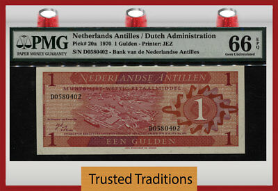 TT PK 20a 1970 NETHERLANDS ANTILLES 1 GULDEN PMG 66 EPQ GEM UNCIRCULATED!
