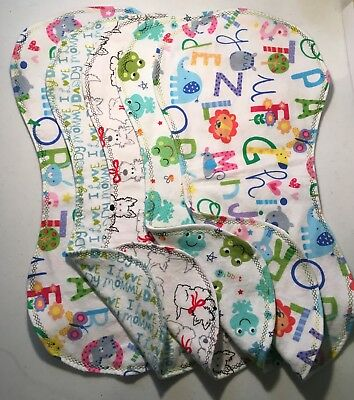 Flannel Burp Cloths Contoured Large Soft Double Layer Mix Or Match Handmade