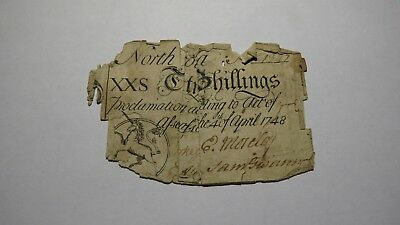 1748 20 Shillings North Carolina Colonial Currency Note Bill! Twenty Continental
